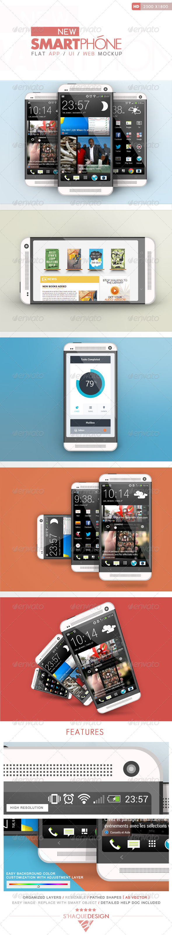 Flat Phone Mock Up - Mobile Displays