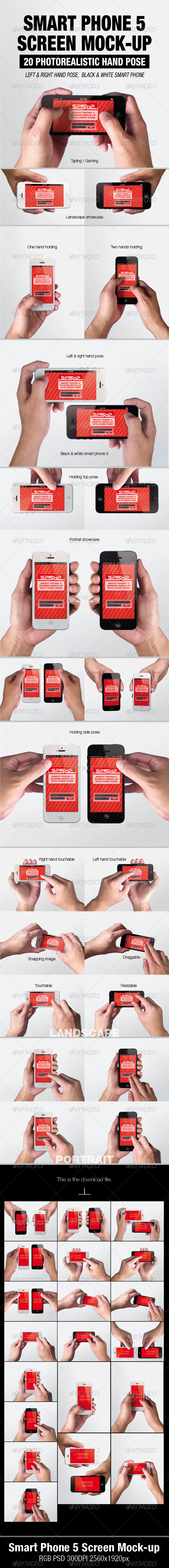 GraphicRiver Smart Phone 5 Screen Mock-up 5539705