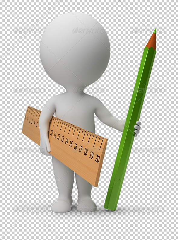 GraphicRiver 3D small people ruler and pencil 5539921
