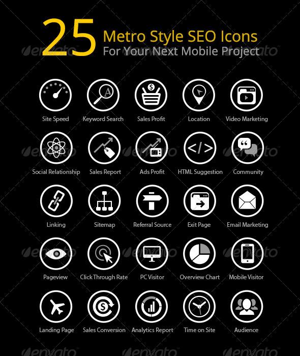 GraphicRiver 25 Metro Style SEO Icons 5540042