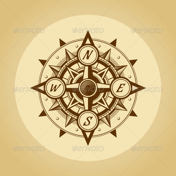 GraphicRiver Wind Rose in Old Retro Style Vector 5540113