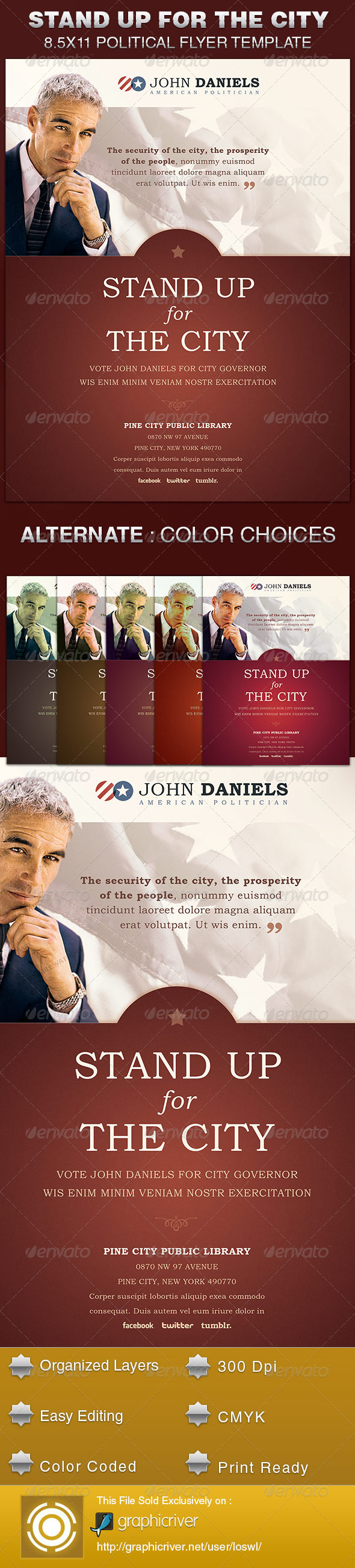 GraphicRiver Stand Up for the City Political Flyer Template 5540589