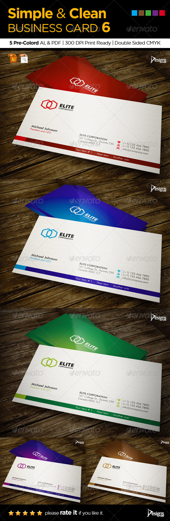 GraphicRiver Simple and Clean Business Card 6 5542241