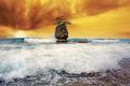 Wave crashing with apocalyptic sunset - PhotoDune Item for Sale