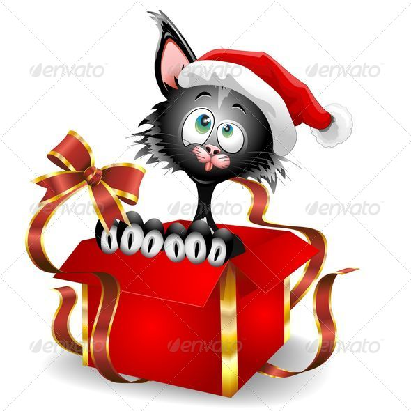 GraphicRiver Cat Cartoon on Christmas Gift 5542409
