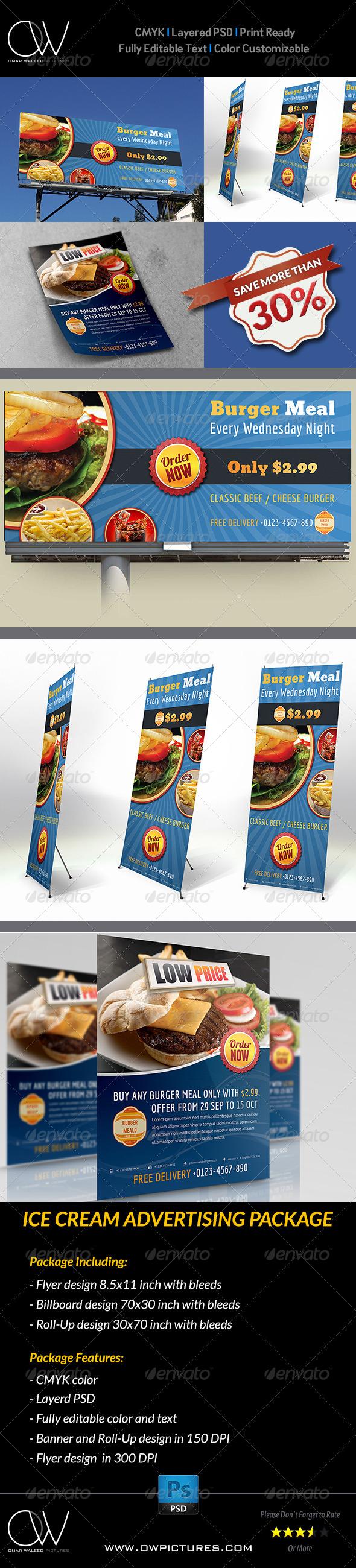 GraphicRiver Burger Restaurant Advertising Bundle 5542575