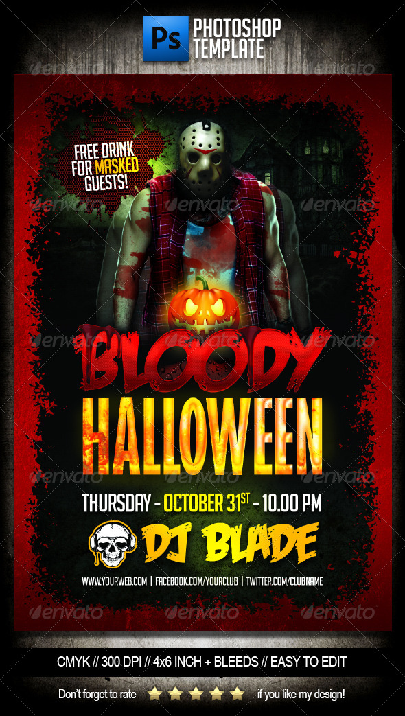 GraphicRiver Bloody Halloween Party Flyer Template 5542677