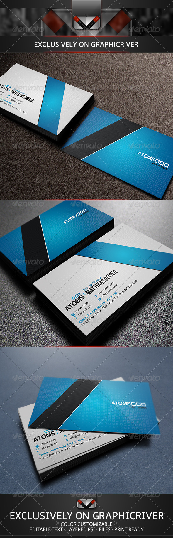 GraphicRiver Creative Blue Business Card 5542912