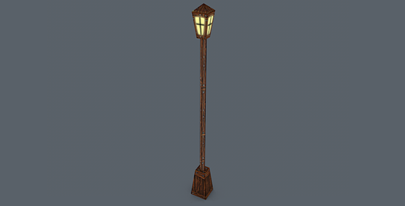 3DOcean Wooden Street Lamp Low 28 Poly 5543026