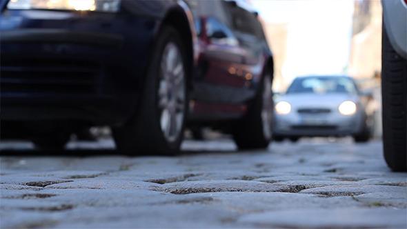 VideoHive Ground View Cobblestone Street Cars 5543869