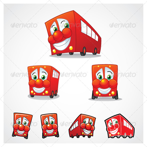 GraphicRiver Vector Red Bus Mascot 5544597