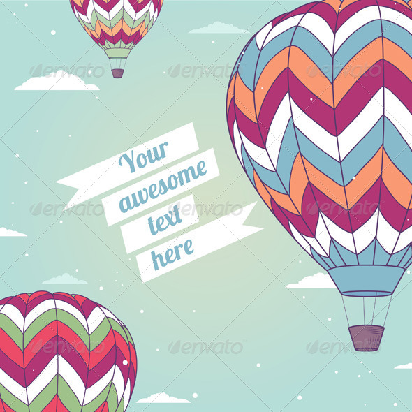 GraphicRiver Retro Card with Hot Air Balloon 5522282