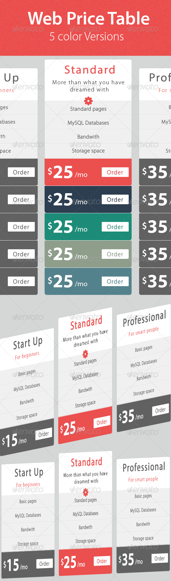Web & Hosting Price Table - Tables Web Elements