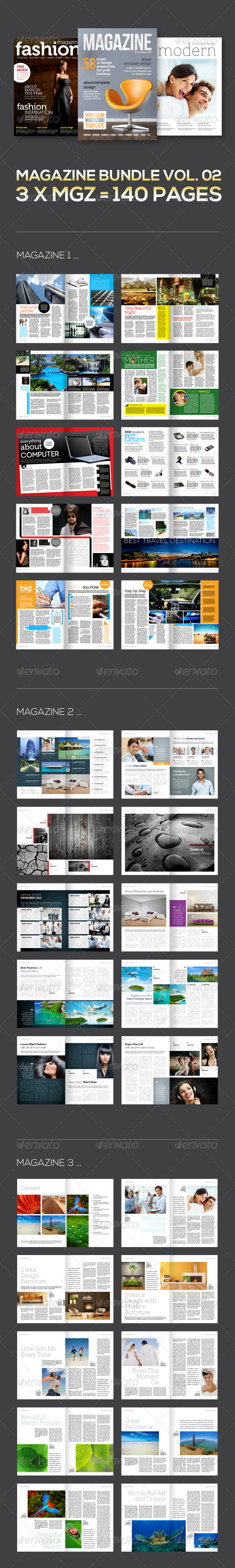 3 X Magazine Collection (Mgz Bundle Vol. 02) - Magazines Print Templates