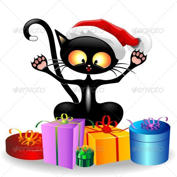 GraphicRiver Happy Cat Cartoon with Christmas Gifts 5545670