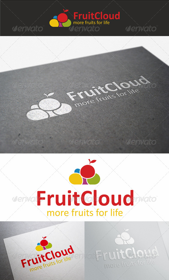 Fruit Cloud Colorful Logo - Nature Logo Templates