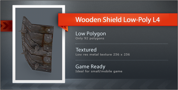 3DOcean Wooden Shield Low Poly L4 5546078