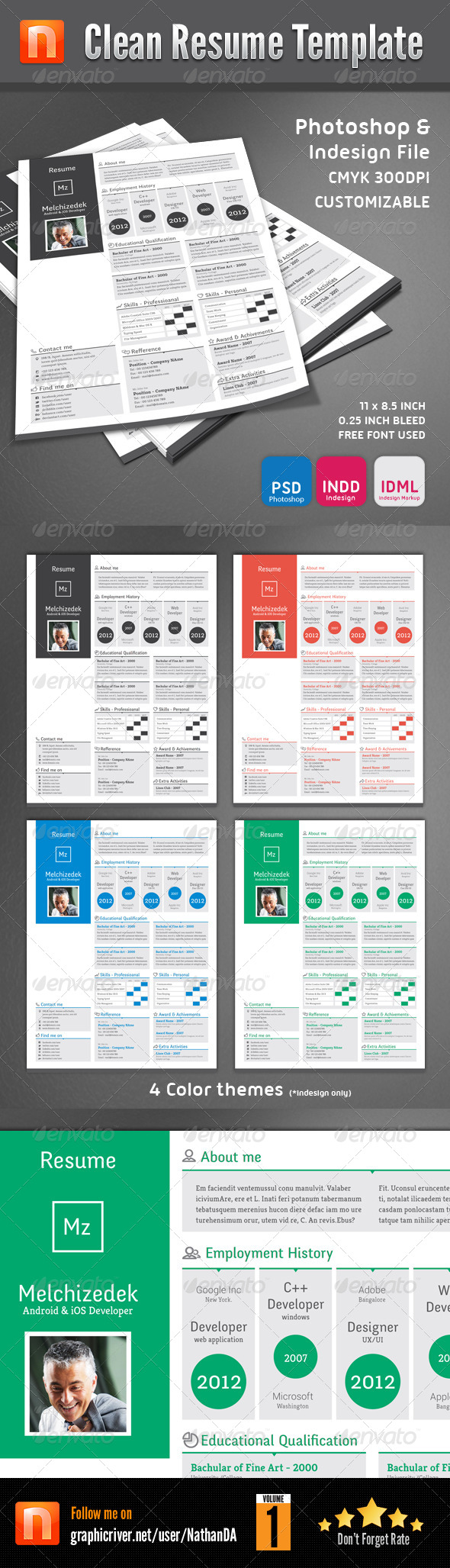 GraphicRiver Clean Resume Template V1 5507067