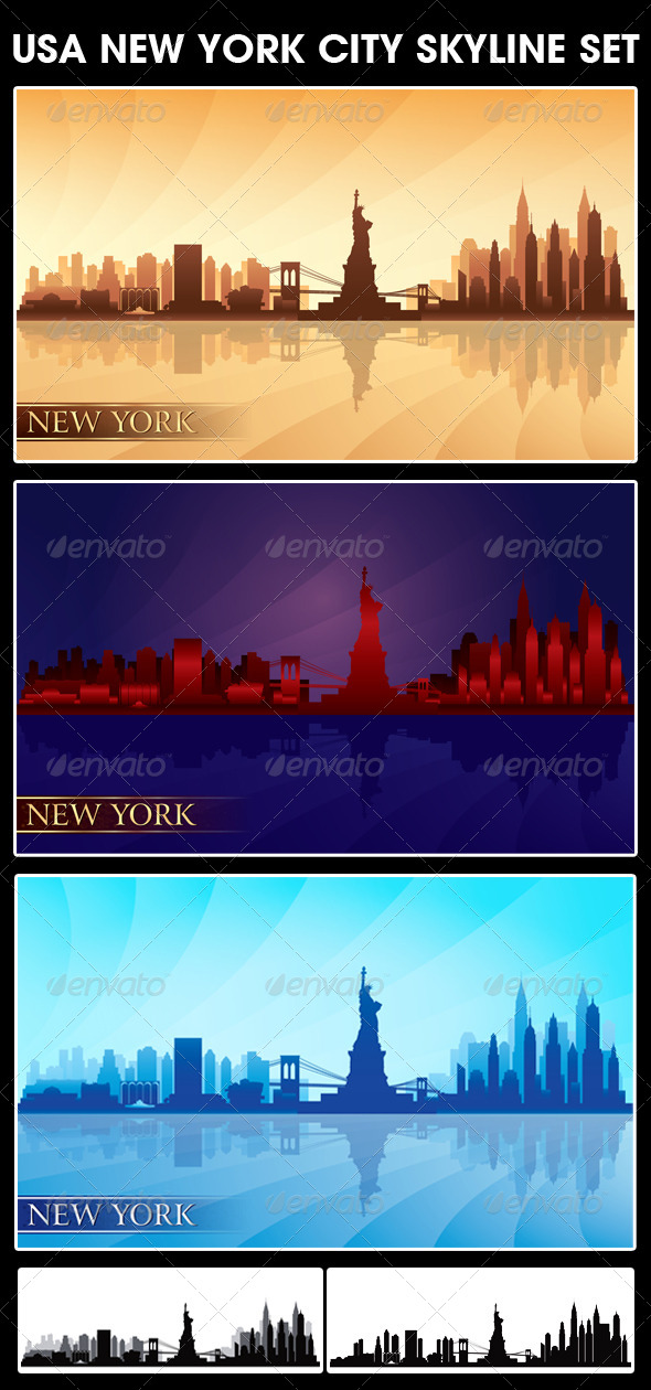 GraphicRiver New York USA City Skyline Silhouettes Set 5546782