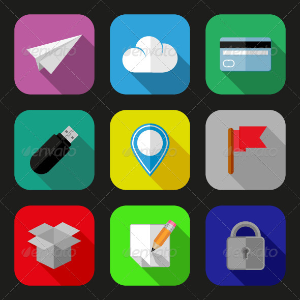 GraphicRiver Flat icons and pictograms set 5546815