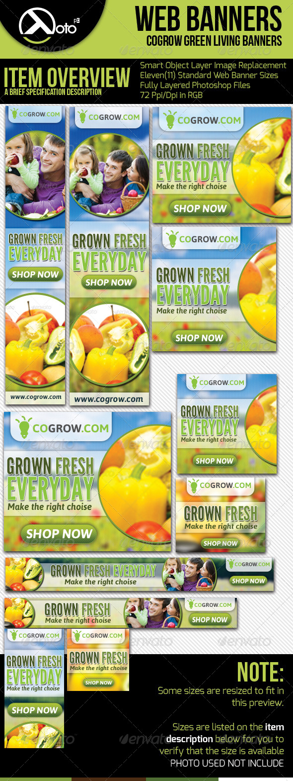 Healthy Organic Living Web Banners - Banners & Ads Web Elements