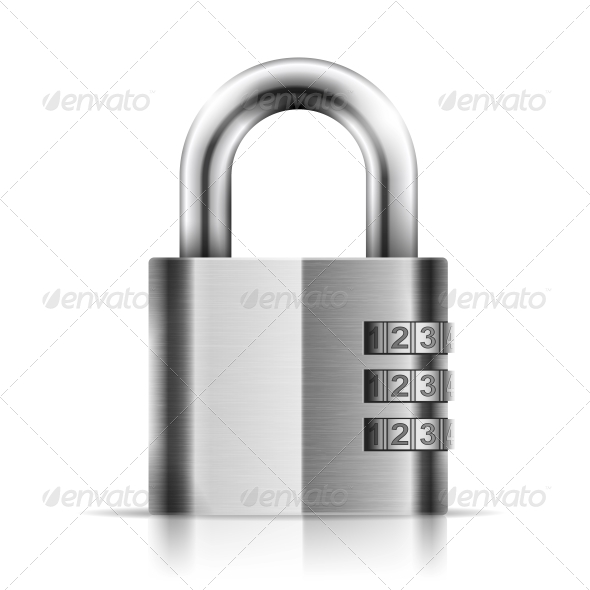 GraphicRiver Steel Closed Isolated Padlock 5547406