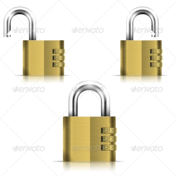 GraphicRiver Brass Open and Closed Isolated Padlock 5547535