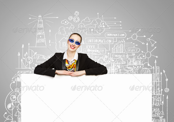Business person with banner - Stock Photo - Images
