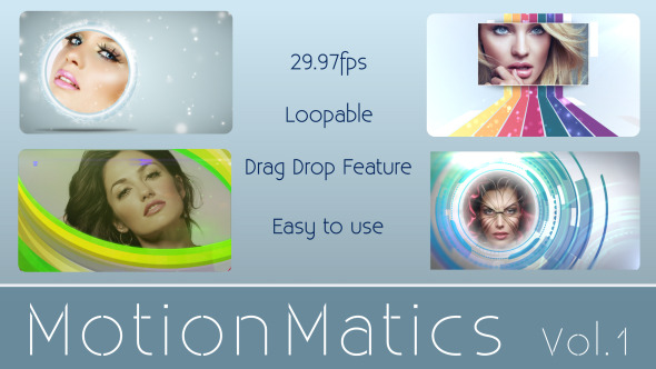Motionmatics Vol.1 animated Loops with alpha Zone