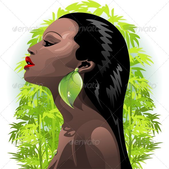 GraphicRiver Woman African Beauty and Bamboo 5547820