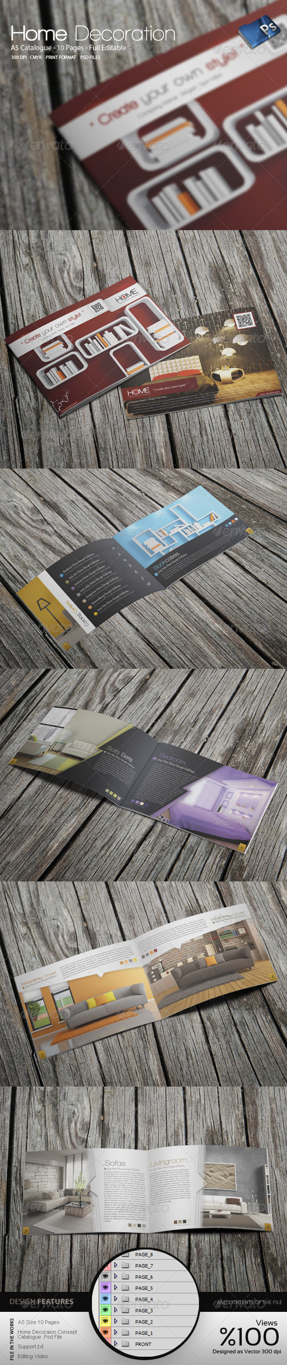 A5 Home Decoration Catalogue Template - Catalogs Brochures