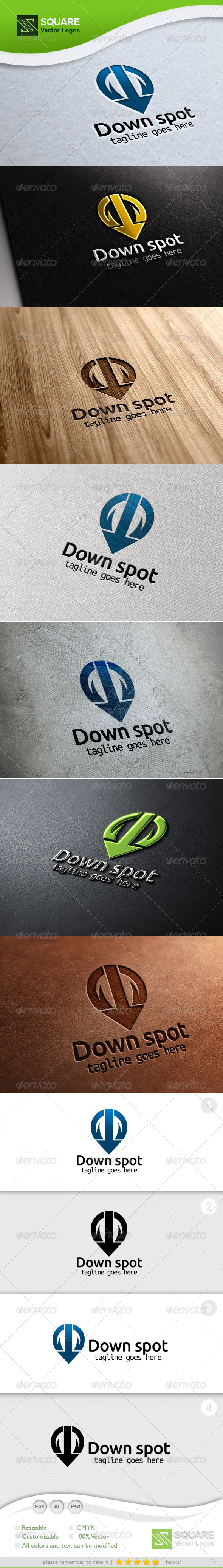 GraphicRiver Down Arrow Locator Vector Logo Template 5548617