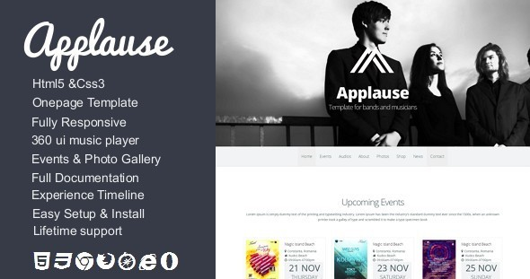 ThemeForest Applause Onepage Bands & Musicians Template 5548631