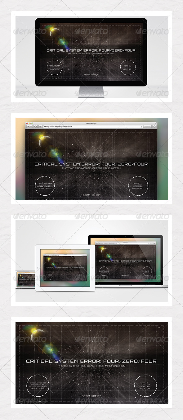 GraphicRiver Outer Space 404 Error Page 5548769