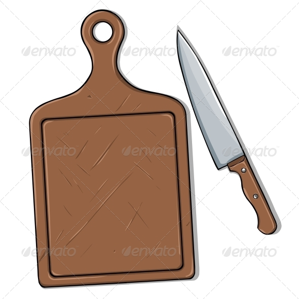 GraphicRiver Vector Cutting Board and Knife 5549475