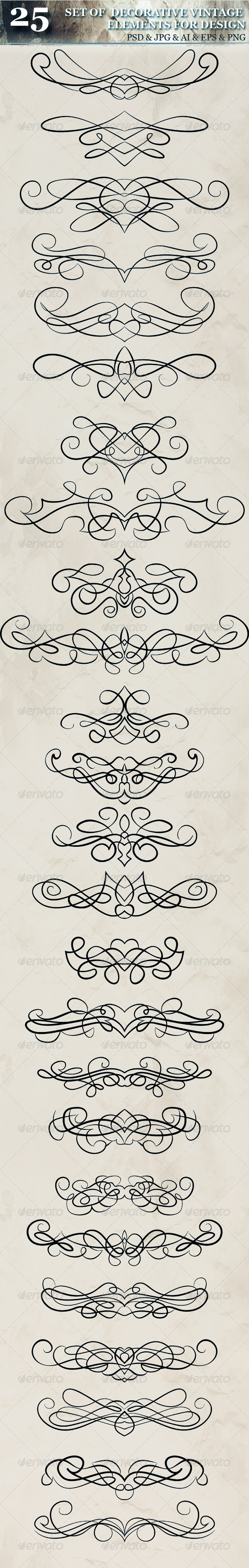 GraphicRiver Set Of Decorative Calligraphic Vintage Elements 5549603