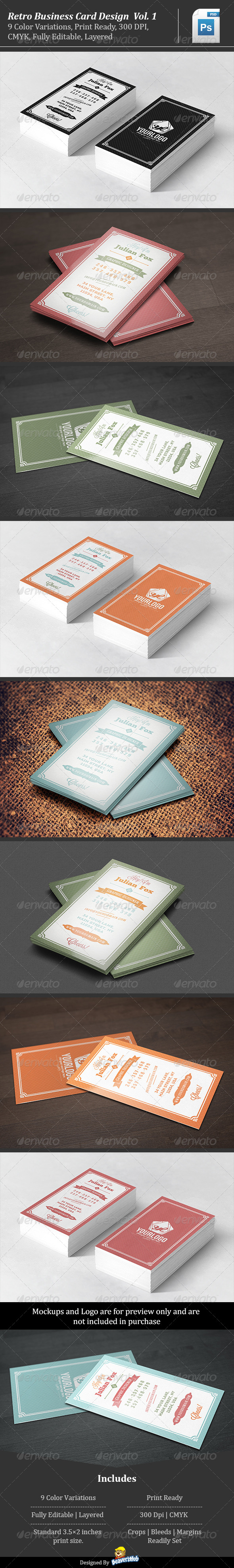 Retro Business Card Design Vol. 1 - Retro/Vintage Business Cards