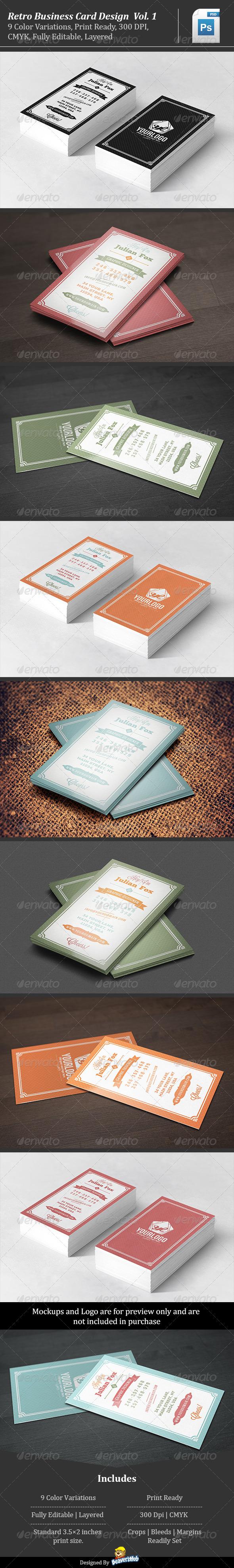 GraphicRiver Retro Business Card Design Vol 1 5550437