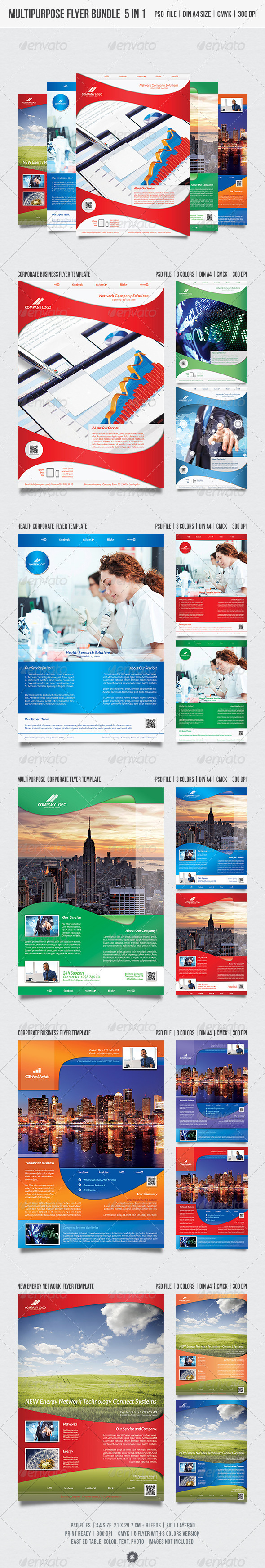 GraphicRiver Multipurpose Flyer Bundle 5 in 1 5527536