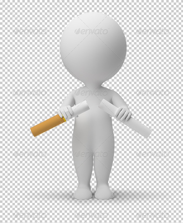 3D Small People Breaking Cigarette