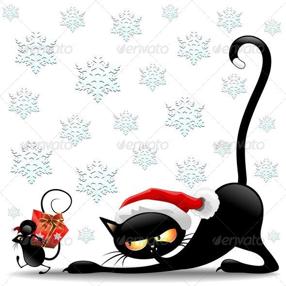 GraphicRiver Cat and Mouse Cartoon Funny Christmas Santa Claus 5532163