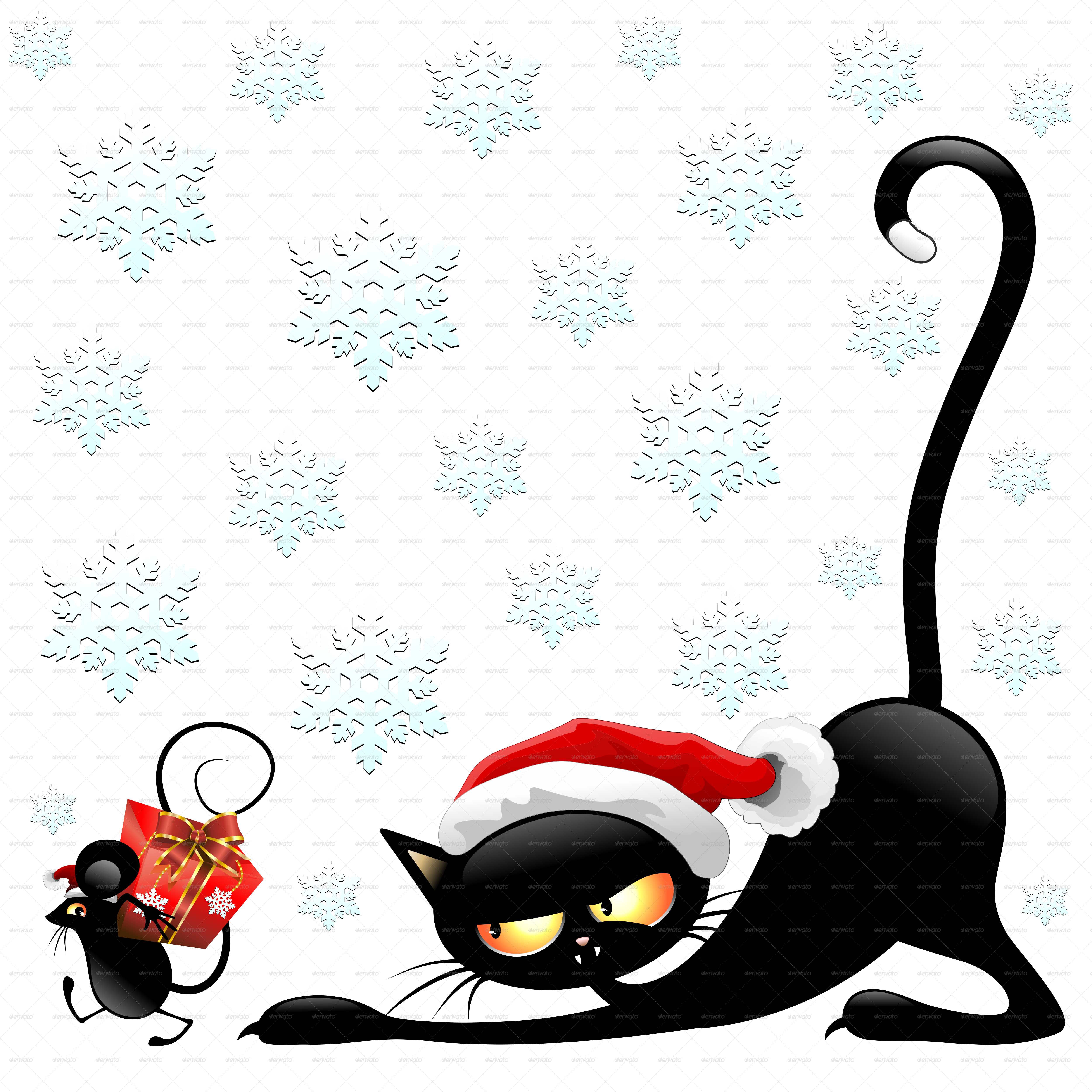 Funny Cartoon Santa Claus Cat and mouse cartoon funny