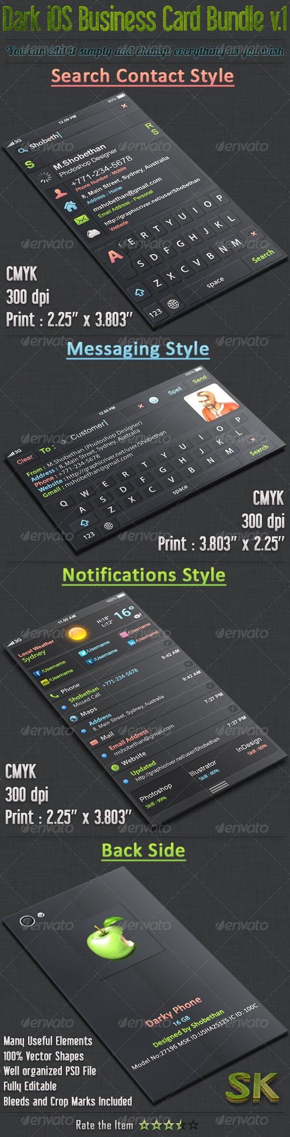 GraphicRiver Dark iOS Business Card Bundle 01 5551408