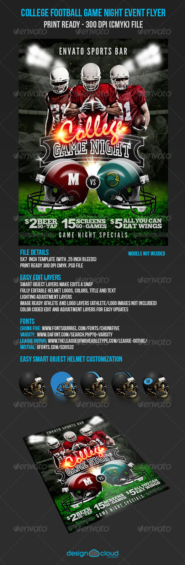 GraphicRiver College Football Game Night Event Flyer 5551466