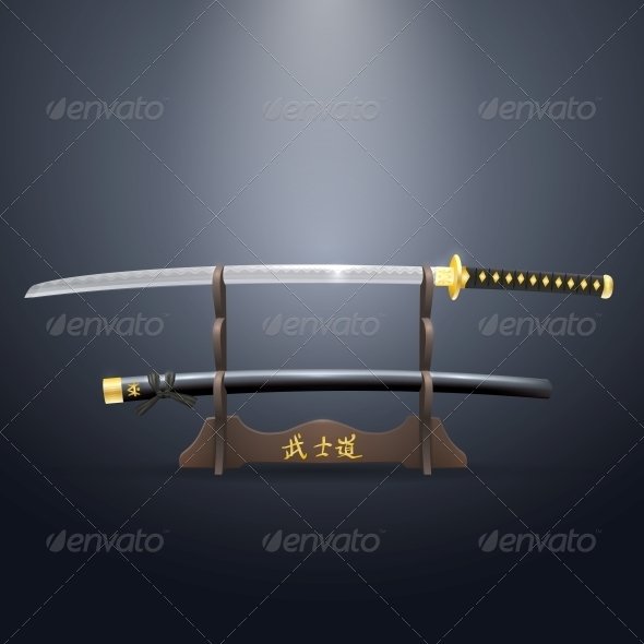 GraphicRiver Realistic Samurai Sword and Scabbard on Stand 5551518