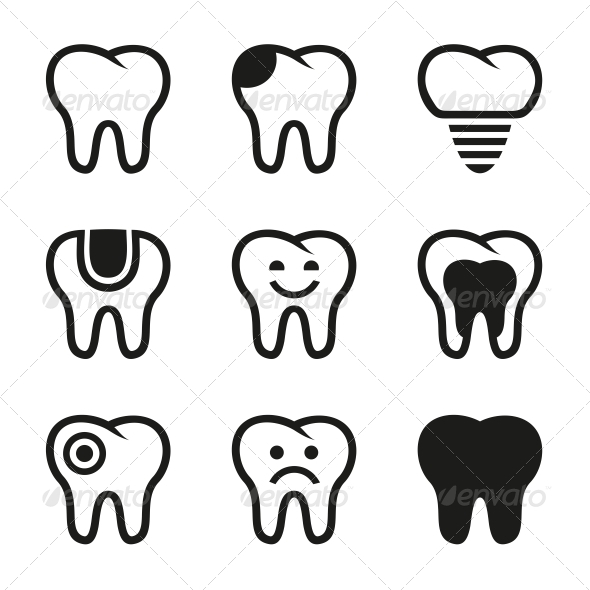 GraphicRiver Tooth Vector Icons Set 5551643