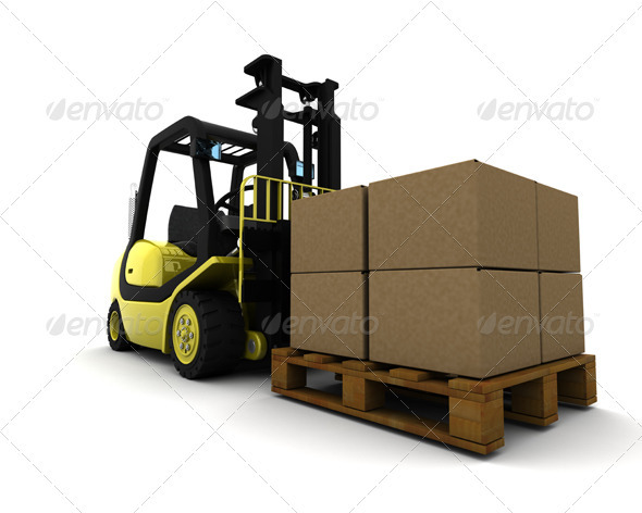 GraphicRiver Forklift Truck Carrying Boxes 571148
