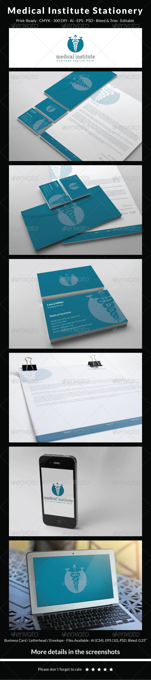GraphicRiver Medical Institute Stationery 5467519