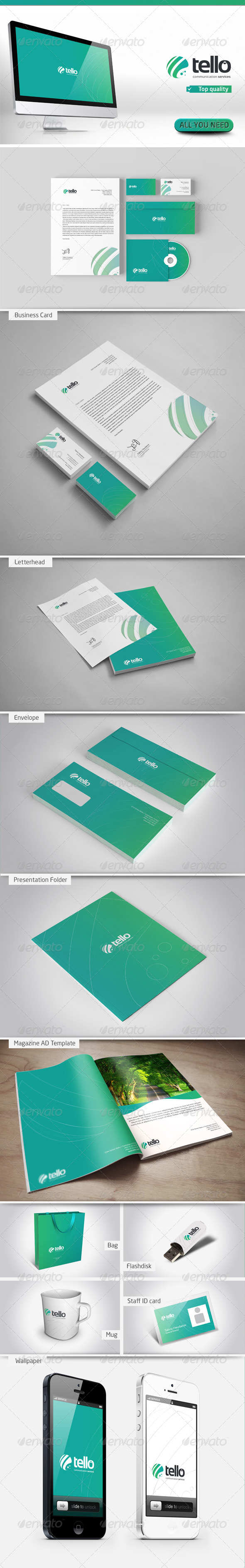 Tello Corporate Identity - Stationery Print Templates