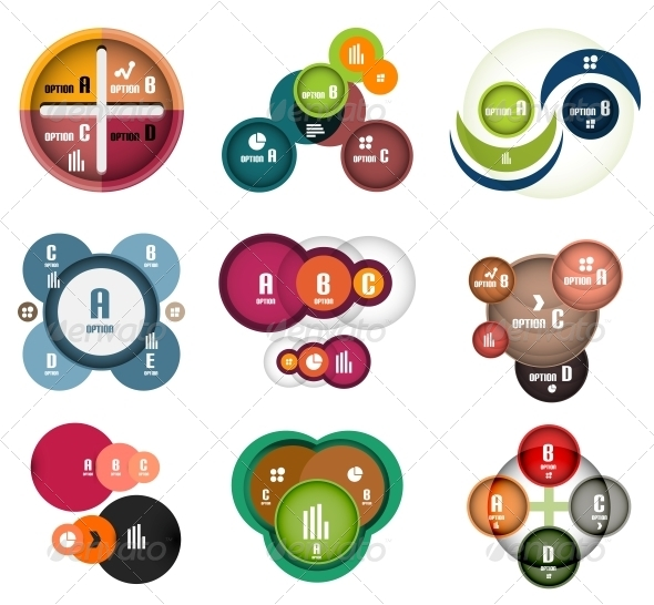 Modern circles option banner templates set - Web Elements Vectors